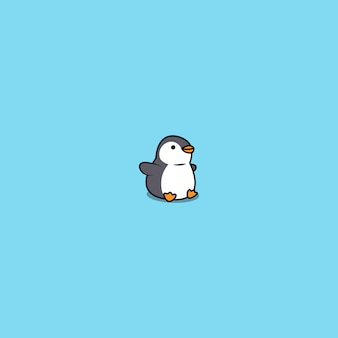 Icona di seduta del pinguino grasso sveglio del fumetto
