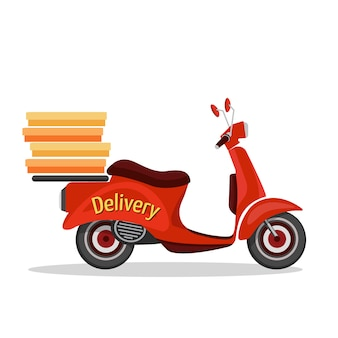 Icona di servizio di consegna veloce del retro scooter isolata sull'illustrazione bianca di vettore del fondo