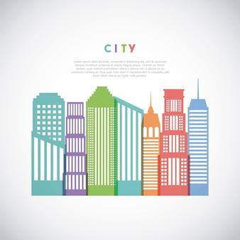 Icona di skyline del paesaggio urbano di edifici