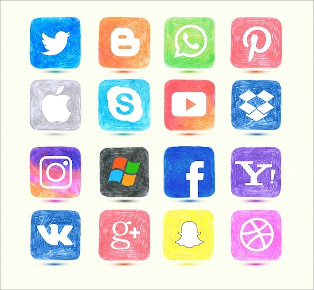 Icona di social media impostata nello stile disegnato a mano