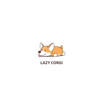 Icona di sonno cucciolo pigro corgi