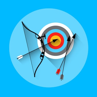 Icona di sport dell'attrezzatura dell'obiettivo della freccia di tiro con l'arco