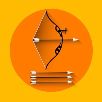 Icona di sport dell'attrezzatura della freccia di tiro con l'arco