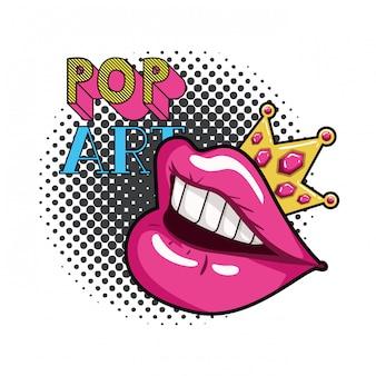 Icona di stile isolato bocca femminile pop art