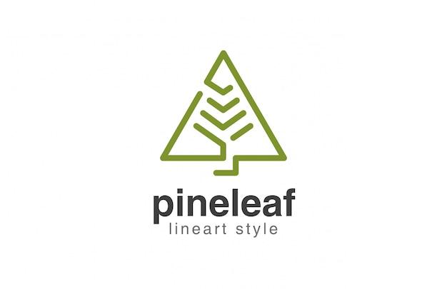 Icona di stile lineare astratto di logo dell'albero di natale