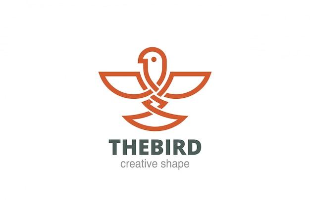 Icona di stile lineare celtico dell'uccello logo astratto.