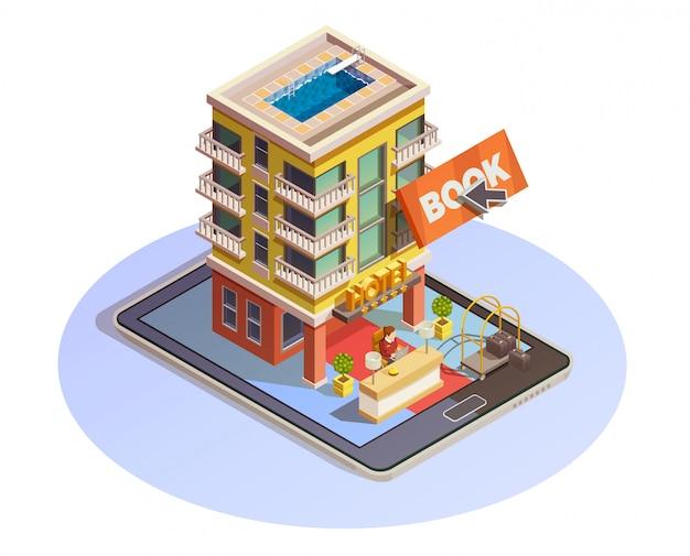 Icona di tablet isometrica di prenotazione hotel pulsante
