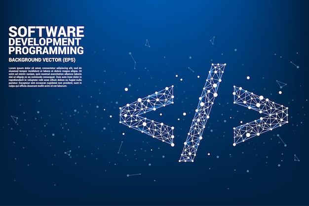 Icona di tag di sviluppo software di sviluppo del poligono di vettore
