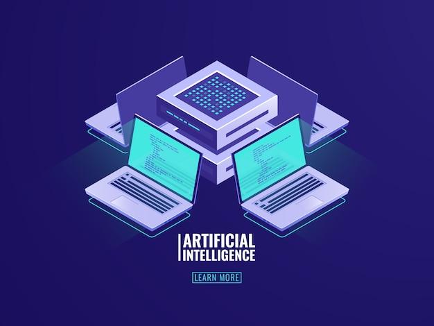 Icona di tecnologia blockchain isometrica, concetto di stanza del server con laptop e codice di programma
