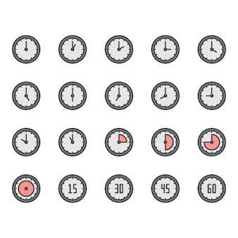 Icona di tempo e orologio e set di simboli
