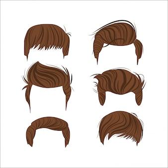 Icona di testa di stili di capelli maschile
