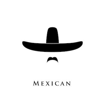 Icona di uomini messicani isolata su priorità bassa bianca.