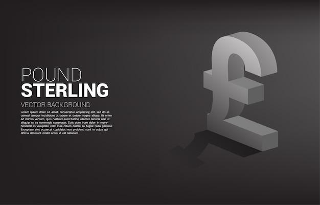 Icona di valuta 3d sterlina con ombra.