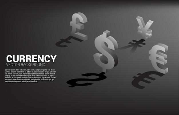 Icona di valuta dei soldi 3d con ombra.