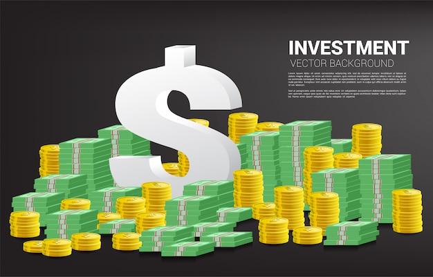 Icona di valuta del dollaro 3d con la pila della banconota e della moneta
