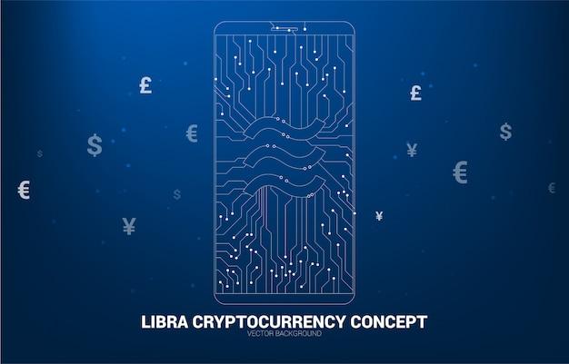 Icona di valuta digitale della bilancia di vettore in telefono cellulare dallo stile del circuito di connessione linea dot.