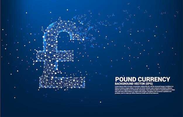 Icona di valuta sterlina di denaro dal punto poligono collegare linea.