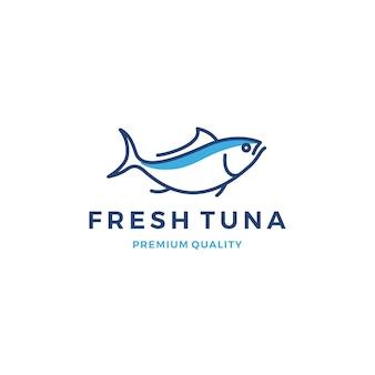 Icona di vettore dei frutti di mare dell'etichetta dell'emblema di logo del tonno