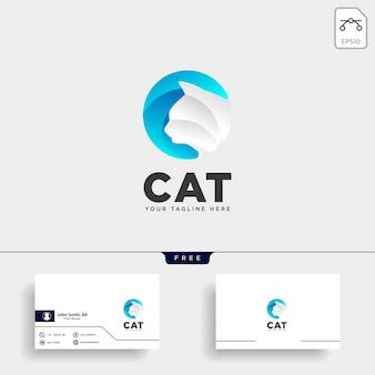 Icona di vettore del modello di logo di tipo dell'animale domestico del gatto della lettera c della lettera