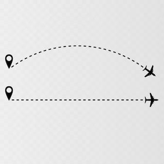 Icona di vettore del percorso di linea aerea dell'itinerario di volo dell'aeroplano con il punto di partenza e la linea tratteggiata traccia