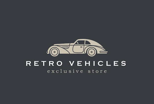 Icona di vettore di auto retrò logo