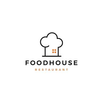Icona di vettore di cibo casa cuoco cappello cucina ristorante café logo