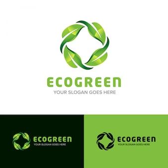 Icona di vettore di design del logo 3d della foglia natura verde eco
