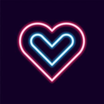 Icona di vettore di linea al neon di amore, stile retrò anni '80 lettera bagliore luce del testo