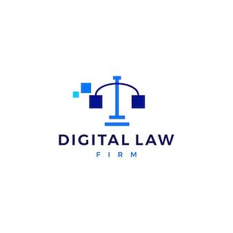 Icona di vettore di logo di bilancia della giustizia digitale di legge