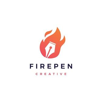 Icona di vettore di logo di fiamma di fuoco di penna
