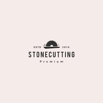 Icona di vettore di logo di taglio e controsoffitto di pietra