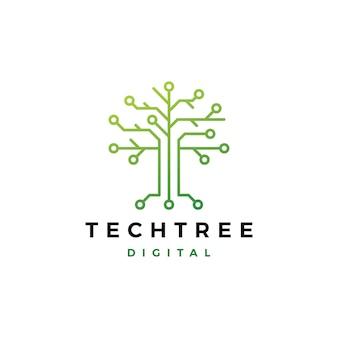 Icona di vettore di logo digitale del circuito elettrico dell'albero di tecnologia