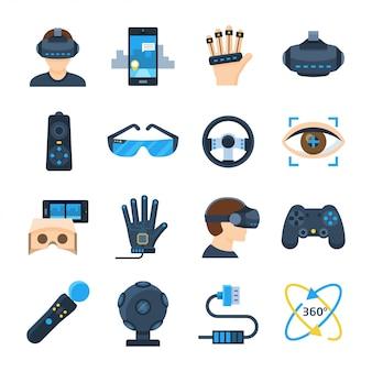 Icona di vettore di realtà virtuale impostata in stile piano