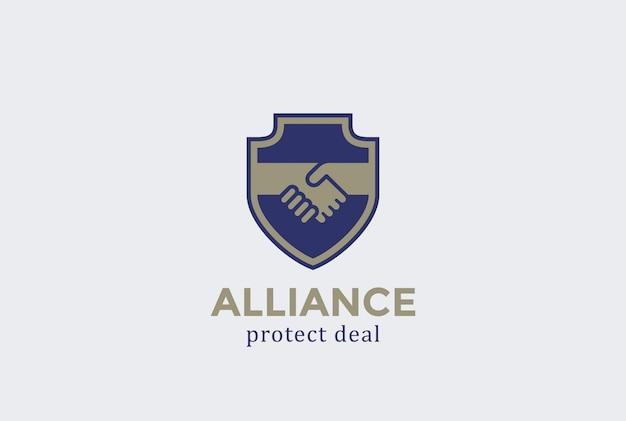 Icona di vettore di scudo proteggere affare stretta di mano logo.