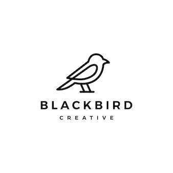 Icona di vettore di uccello logo linea muta monoline