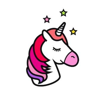 Icona di vettore di unicorno isolato su priorità bassa bianca