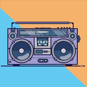 Icona di vettore piatto di linea con retro boombox elettrico dispositivo audio. illustrazione vettoriale