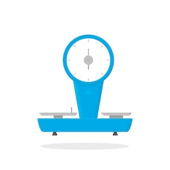 Icona di vettore piatto di scale negozio meccanico. dispositivo per la misurazione di prodotti alimentari. oggetto commerciale compra pesatrice