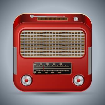Icona di vettore quadrato retrò ricevitore radio