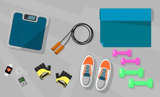 Icona di vettore riporta in scala guanti sportivi, scarpe, corda.