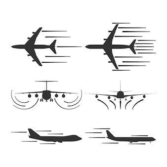 Icona di viaggio aereo di vettore di decollo dell'aeroplano