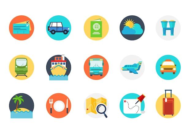 Icona di viaggio con molti simboli