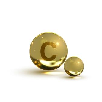 Icona di vitamina c. illustrazione di vettore della capsula della pillola su fondo isolato bianco.