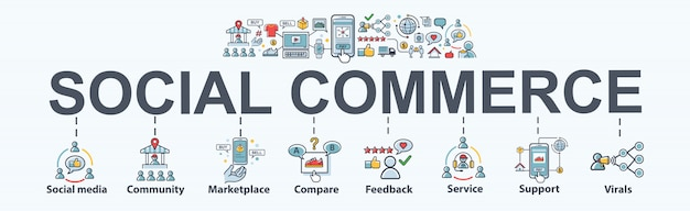 Icona di web banner social commerce per e-commerce e social media marketing.