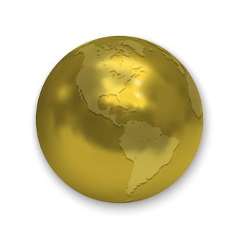 Icona dorata lucida del globo della terra isolata