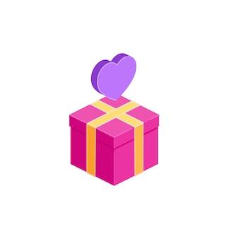 Icona e cuore del contenitore di regalo