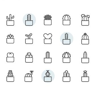Icona e insieme di simboli del cactus nel profilo