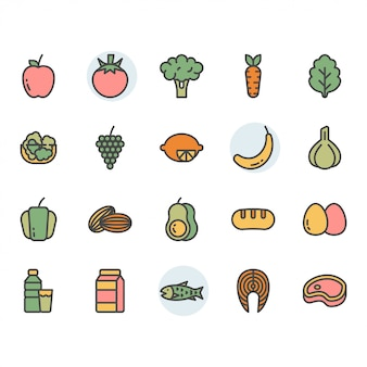 Icona e insieme di simboli relativi alla frutta
