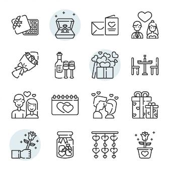Icona e insieme di simboli relativi di giorno di biglietti di s. valentino