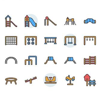 Icona e set di simboli del parco giochi